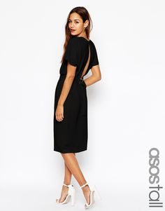 ASOS TALL Wiggle Dress in Crepe with Open Wrap Back and D-Ring