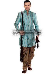 «Цвета электрик и коричневый мужской национальный индийский свадебный костюм из дизайнерского шёлка, украшенный скрученной шёлковой нитью с бисером, перламутровыми бусинками