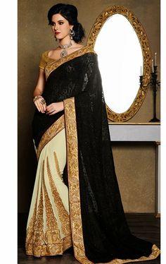 Unique Black and Buttercream Color Fashion Designer Saree