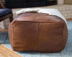 Genuine BRAND NEW Real Leather CREAM Footstool Pouffe