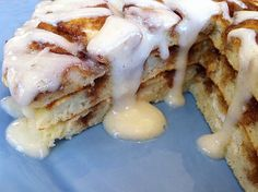 Cinnamon roll pancakes...what? Awesome! I'm going to try it with a super healthy pancake and the kids won't even know...mwahaha! tracimagleby