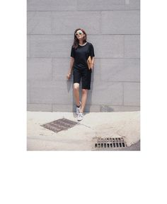 6c9a5b08ab8f1 Solid Straight Leg Shorts (Black)