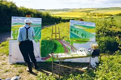David Hockney painting The Road to Thwing, Late Spring. © David Hockney/Photograph by Jean-Pierre Gonçalves de Lima/Thames & Hudson David Hockney Landscapes, David Hockney Art, David Hockney Paintings, Artist Art, Artist At Work, Landscape Art, Landscape Paintings, Pop Art, Illustrator