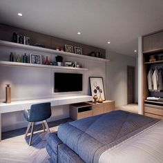 Minimalism takes place today in the world of interior design, design and art. Despite its prevalence, a proper minimalist design, . Read Simple and Minimalist Bedroom Ideas Tv In Bedroom, Dream Bedroom, Bedroom Decor, Bedroom Ideas, Bedroom Layouts, Bedroom Styles, Bedroom Colors, Contemporary Interior Design, Office Interior Design