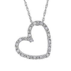 10K White Gold 1/10cttw Diamond Heart Pendant w/Chain