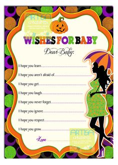 items similar to halloween baby shower wishes for baby card halloween baby shower games halloween wishes for baby card baby shower halloween games on - Halloween Baby Games