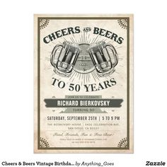 Shop Cheers & Beers Vintage Birthday Party Invitation created by Anything_Goes. Anniversary Party Invitations, Retirement Party Invitations, Retirement Parties, Anniversary Parties, Wedding Anniversary, Retirement Celebration, Engagement Celebration, Holiday Invitations, Invitation Birthday
