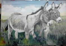 original donkey painting by Wilma Potgieter Farm Paintings, Donkeys, Wood Projects, Letters, Horses, Artist, Cute, Animals, Animales