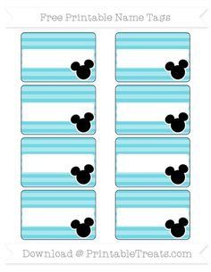 Free Pastel Teal Horizontal Striped  Mickey Mouse Name Tags