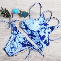 Blue Tie Dye Print Cutout Crisscross Bikini Set