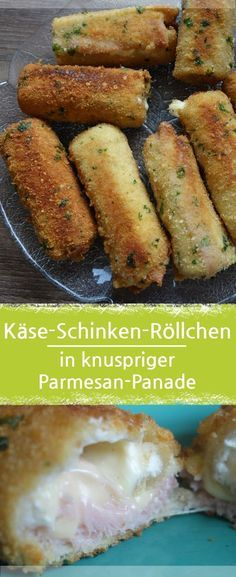 Käse-schinken-rolle mit toast in knuspriger parmesan-panade Cheese and ham rolls with toast in crunchy parmesan breading. Shrimp Recipes, Cheese Recipes, Appetizer Recipes, Snack Recipes, Healthy Recipes, Parmesan Recipes, Grilling Recipes, Bread Recipes, Party Finger Foods