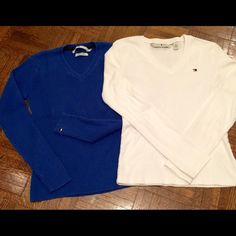 Tommy Hilfiger Tops Lot of 2 Pretty royal blue v-neck sweater made of 100% cotton & v-neck top made of 100% Both are size small and bear the TH insignia In very good, gently loved condition Will also sell separately Tommy Hilfiger Tops