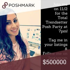 Posh Party 11/2 Join me tomorrow, 11/2 as I co-host the 7pm Total Trendsetter Poshmark Virtual Party!  I am so excited to be co-hosting with my PFFs!  Tag me in your listings and I would love to choose your items as host picks!  If you're in LA please join us this Saturday 11/4 at Perch in Downtown LA at 6pm for our Posh & Sip! xoxo-Tanya Tanya Kara Accessories