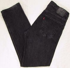 fe2968ee Men Levis Levi's 513 Red Tab Black Jeans Relaxed Slim Straight Leg sz 34 X  32