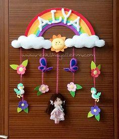 Gökkuşağı Kız Bebek Kapı Süsü Modeli - Renkli Hayallerim
