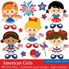 American Girls  4th of July  Digital paper and by pixelpaperprints