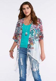 Cato Fashions Spirited Floral Fringe Kimono #CatoFashions