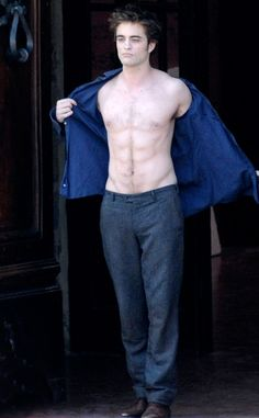 The actor shows off his six-pack while shooting New Moon in Montepulciano, Italy.