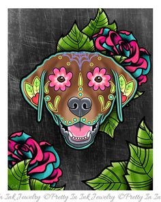 Labrador Retriever in Chocolate - Day of the Dead Sugar Skull Dog Art Print by Pretty In Ink Jewelry