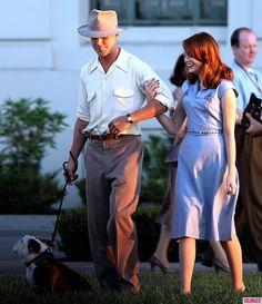 Photos - Ryan Gosling Kisses Emma Stone on 'The Gangster Squad' Set - 7 - Celebuzz
