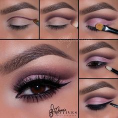 Cut crease pulm and pink step by step makeup tutorial #makeup #tutorial #evatornadoblog #stepbystep #mycollection #pinkcutcrease