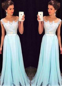 Prom Dresses ,prom gown,Light blue A-line chiffon lace long prom dress, bridesmaid dress - Anvka Blixhten ({~_~}))))))))) - A Line Prom Dresses, Ball Dresses, Homecoming Dresses, Ball Gowns, Dress Prom, Prom Gowns, Party Dress, Chiffon Dresses, Dresses 2016