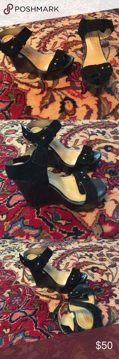 BCBG black swede wedges / shoes BCBG Black swede wedges / shoes BCBG Shoes Wedges