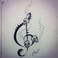"""Musical skulls"" by Julianna Hunter. Ink #tattooideas"