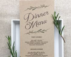 Wedding Menu Card  Rustic Wedding Menus  Ivory Or White  Meal