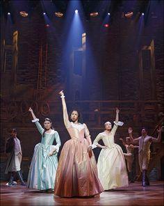 Phillipa Soo, Renée Elise Goldsberry and Jasmine Cephas Jones in Hamilton