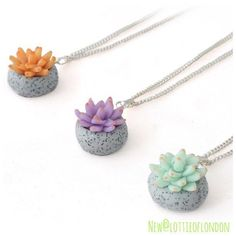 New at Lottie Of London our handmade Succulent Charm Necklaces crafted from polymer clay available in three colours, the perfect gift for your plant loving friends #lottieoflondon