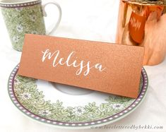 Copper Place Cards Calligraphy Place Cards Rose Gold Place