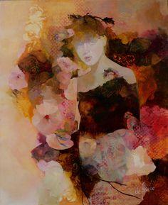 """"""" Fleur n°5 """" de Françoise de Félice, Huile sur toile, 2017"""