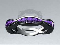This is a Beautiful and Unique Wedding Band with Round Amethyst set in 14kt Black Gold, Inspired by Twisted Love. This would be a perfect
