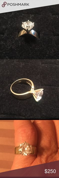 10k gold ring 10k ring ( real gold ) cz diamond 3ct. Very very nice. Jewelry Rings