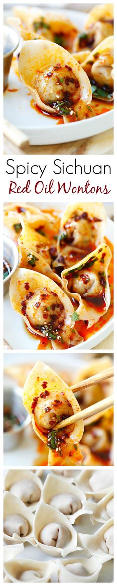 Sichuan Red Oil Wontons – delicious and mouthwatering spicy wontons in Sichuan red oil and black vinegar sauce~ (Bake Ravioli Sides) Wonton Recipes, Appetizer Recipes, Asian Appetizers, Sushi Comida, Tapas, Asian Cooking, I Love Food, Asian Recipes, Gastronomia