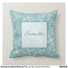 Monogram Name Abstract Turquoise Teal Throw Pillow