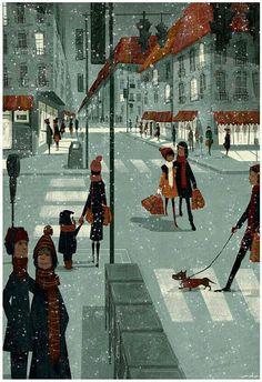 Art and illustration : Art and illustration Art And Illustration, Photo Images, Winter Art, Winter Snow, Belle Photo, Dachshund, Illustrators, Folk Art, Concept Art