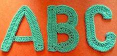 Crochet Letter patterns, this might come in handy : ) Crochet Letters Pattern, Letter Patterns, Crochet Patterns, Yarn Projects, Crochet Projects, Crochet Tutorials, Crochet Crafts, Knit Crochet, Crochet Embellishments