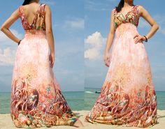 Romance Long Sundress Bridesmaid Dress/ Orange by myuniverse.via Etsy.