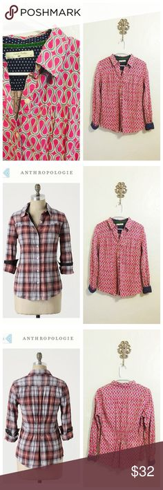 """NWOT Anthropologie Isabella Sinclair Carefreeshirt New without tags, DETAILS Fresh from the dryer or line, pressing this pre-crinkled cotton plaid will never weigh on your mind. By Isabella Sinclair. Size medium. Note the shirt for sale is the color of the one in the first photo, the second and third photos show the plaid as a comparison to show fit.  Button closure  Cotton  Machine wash  26""""L  Imported  Style No. 19364165 Anthropologie Tops"""