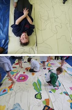 Figure to Abstraction Workshop- trace figures overlapping. then paint abstract shapes created by overlapping lines.