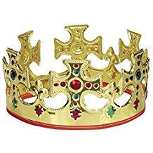 Look and feel like royalty with this Adjustable Gold King Crown. The soft plastic material and adjustable Velcro strap make this gold crown easy and comfortable for just about anyone to wear. Gold King Crown, Queen Crown, Kings Crown, Crown Royal, Prince Costume, King Costume, Party Accessories, Costume Accessories, King Queen Princess
