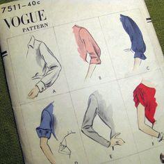1950s Vintage Vogue Sleeves.  Original pattern back has yardage but no pattern piece layout