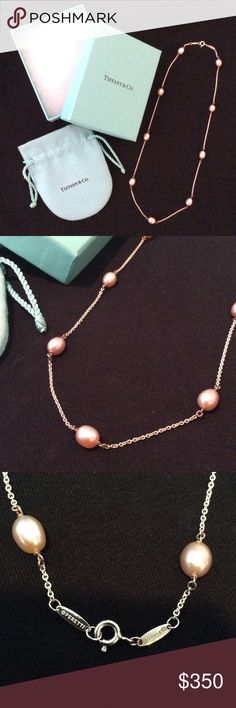 Tiffany & Co. Pearls by the Yard Necklace Tiffany & Co Elsa Peretti Pearls by the Yard necklace. 9 pink freshwater cultured pearls on sterling silver chain. 18 in long, pearls 6.5-7 mm wide. Tiffany & Co. Jewelry Necklaces