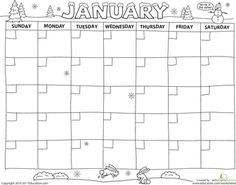 Create a Calendar!: January  Want to teach your kid the days of the week and months of the year? Try a calendar activity. With cute pictures she can color, this fun calendar printable is sure to keep her excited and entertained. The calendar is missing its numbers, so she'll get to practice counting from 1-31 as she fills in all the dates. Counting, handwriting, coloring—this printable has it all.