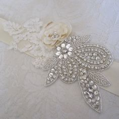 Beaded Bridal Crystal Wedding Sash/Belt with Lace and Flower Wedding Sash Belt, Wedding Belts, Wedding Attire, Wedding Jewelry, Bridal Gowns, Wedding Gowns, Wedding Day, Sash Belts, Crystal Wedding