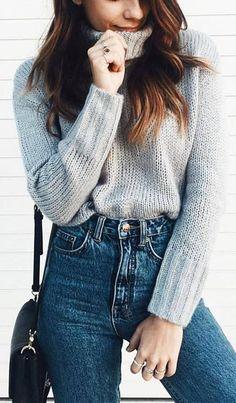 High Collar Basic Gray Short Sweater