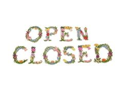 Set of embroidered letters spelling open and closed. Use these letters to create your own sign for your shop or just for fun. Hang them on the