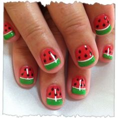 Watermelon nails for ava's halloween costume! nail designs и Nail Art For Girls, Nails For Kids, Girls Nails, Nail Art Cute, Kawaii Nail Art, Cute Nails, Watermelon Nail Designs, Watermelon Nail Art, Watermelon Costume